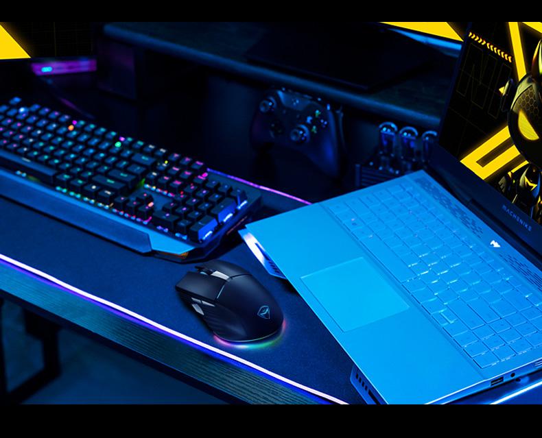 机械师M531双模无线鼠标 宏定义 无线/有线双模-1000Hz回报率,4000DPI调节,1000mA电池长续航,可边冲边用笔记本电脑办公有线鼠标无线充电人体工学鼠标【新品】